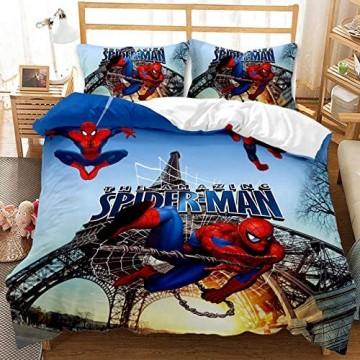 3D Marvel Spiderman Bettbezug-Set Cartoon Marvel Spider-Man Mikrofaser Kinder-Bettwäsche-Set super weich farbbeständig für Jungen und Mädchen (J 135 x 200 cm)