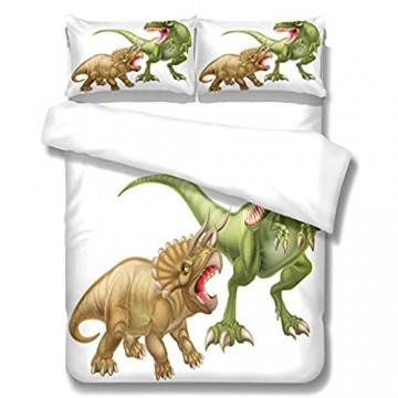 Bedding Cartoon Dinosaurier 180X220Cm Bettbezug Für Kinder Jungen Mädchen Bettwäsche-Set Weich Und Angenehme Hypoallergen Mikrofaser