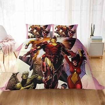 XUEJIAN Iron Man Bettwäsche Marvel Iron Man Bettbezug 3D Comics Avengers Kinder-Bettwäsche-Set 100% Mikrofaser inkl. Bettbezug und Kissenbezug (B02 220 x 240 cm)