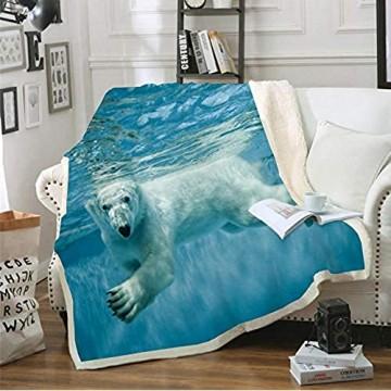 ACTMSY Fleecedecke Kinder Erwachsene Tierischer Eisbär 3D Kuscheldecke 150x200 cm Flanell Mikrofaser Wohndecke Decke Couchdecke Sofaüberwurf Bettüberwurf Flauschige Weiche& Warme