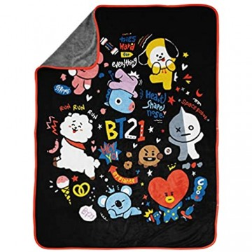 Jay Franco Line Friends BT21 Black & White Doodle Throw Blanket - Measures 46 x 60 inches Kids Bedding - Fade Resistant Super Soft Fleece (Official Line Friends Product)