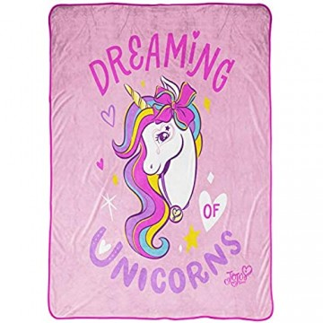 Jay Franco Nickelodeon JoJo Siwa Dreaming Unicorn Blanket - Measures 62 x 90 inches Kids Bedding - Fade Resistant Super Soft Fleece (Official Nickelodeon Product)