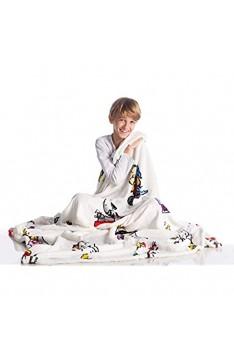 Kanguru Snoopy Decke aus weichem Fleece Weiche und warme Mikrofaser Weihnachten oder für eine bequeme Entspannungscouch TV-Plaid-Erdnüsse 100% Polyester weiß Einheitsgröße