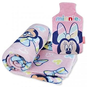 Kuscheldecke und Wärmflasche Kinder Pack Minnie Mouse – Baby Bettwäsche Minnie Mouse Sehr Weich und Wärmflasche mit Bezug bei Kälte mit Minnie Mouse Design   Originelle Geschenke für Mädchen