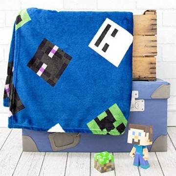 Minecraft Offizieller Creeps Fleece-Überwurf Creeper Design super weiche Decke perfekt für jedes Schlafzimmer blau