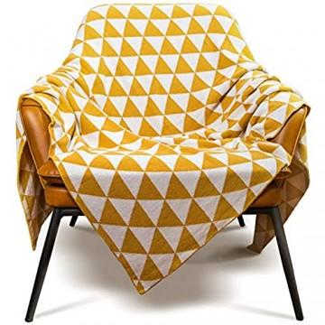 MYLUNE HOME 100% Baumwolle Doppelt Gestrickt Strickdecke für Fernsehen oder Nap auf dem Stuhl Sofa und Bett 130 * 160cm Gelb