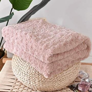 Vangao Überwurf mit Rosenmuster Blumenmuster weich gemütlich Geschenk für Mädchen Schlafzimmer Sofa Couch Stuhl Bett 152 4 x 203 2 cm Blassrosa