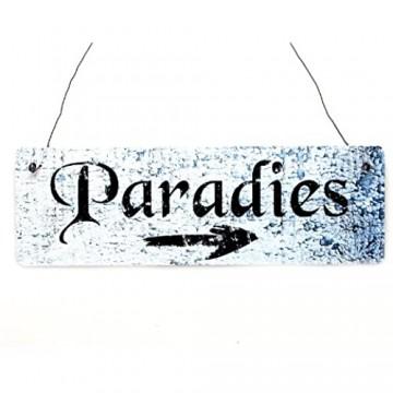 Interluxe Shabby Vintage Schild Türschild Paradies Wegweiser Garten Terrasse Pool Wellness