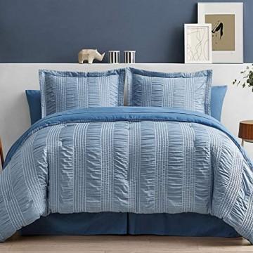 Bedsure Bettwäscheset für Doppelbett 6-teilig gestreift Seersucker weich leicht Daunen Alternative Blau 172 7 x 223 5 cm