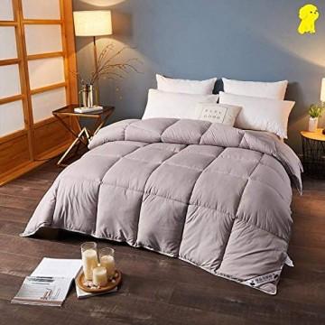 CHOU DAN 4 Jahreszeiten Bettdecke Kinder Winterbettdecke Doppelbettbettdecke verdickte Wärme weiße Gänsedaunen-150 * 200 cm 2000 g_Khaki