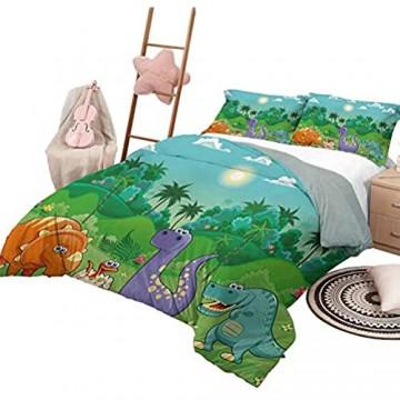 DayDayFun Tagesdecke Bettdecke Set Kinderzimmer Muster Bettdecke Lustige Dinosaurier und tropischer Regenwald Cartoon Dschungelgrüne Landschaft Kinder Thema voller Größe Multicolor