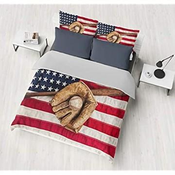 SHOMPE 3D-Baseball-Bettwäsche-Set mit amerikanischer Flagge für Jungen Sport-Bettwäsche