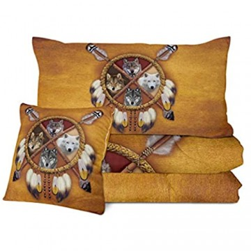 Sleepwish Wolf Comforter Set Queen Size 4 Pieces Wolves Dream Catcher Bedding with Comforter Native American Quilt Set for Adults Men Boys (Brown and Gold)