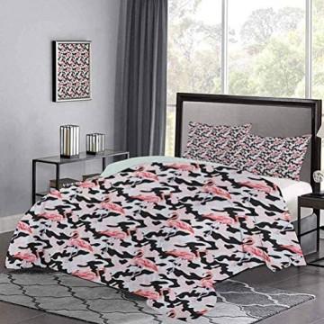 Yoyon Kinder 'Quilt Set Aquarell Pink Flamingo Print Camouflage Hintergrund Natur inspiriert Leichtes Tröster Etui Set Versteckter Reißverschluss Verschluss Dark Coral Pale Pink Black