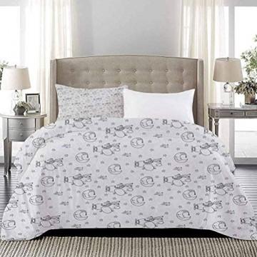 Yoyon Tagesdecke Bettdecke Set Restful Good Night Theme Pattern mit schlafenden Halbmondsternen Cute Fox Pilot Schöne Bettdecke Verleiht dem Raum EIN fröhliches einladendes Gefühl Schwarz Weiß