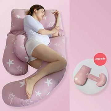 Schwangerschaftskissen Seitenschläferkissen Bauchschläferkissen Für Schwangere U-Förmig Mit Abnehmbarem Und Waschbarem Bezug 3 180 * 80cm