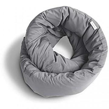 Huzi Design Infinity Pillow - Reisekissen Nackenkissen Ideal für Reise Büro Entwurf Weiches Nackenstützkissen (Grau)