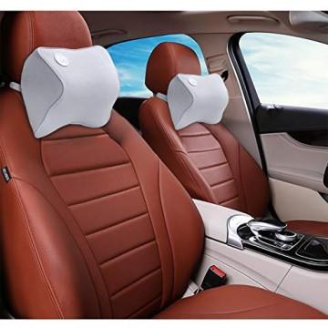 Nackenkissen für Auto-Kopfstütze-Kopfkissen zur Linderung von Nackenschmerzen 100% weicher Memory-Foam Waschbarer Bezug ergonomisches Design verstellbarer Gurt Lebensdauer über 5 Jahre (Grau)