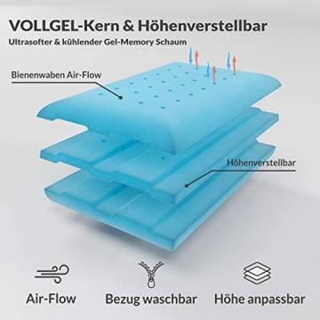 INNOCENT® Höhenverstellbar Gel Bambus Kissen   3D-Air-Flow   Memory Foam Schaum Schlafkissen   orthopädisches Nackenstützkissen gegen Nackenschmerzen   Atmungsaktiv Kissen