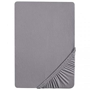 biberna 0077155 Spannbetttuch Jersey (Matratzenhöhe max. 22 cm) 1x 90x190 cm > 100x200 cm silber/grau
