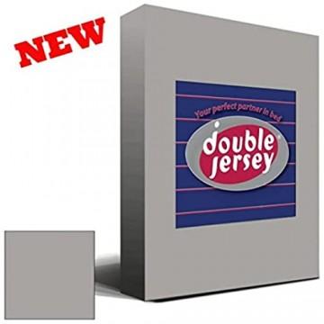 Double Jersey - Spannbettlaken 100% Baumwolle Jersey-Stretch Ultra Weich und Bügelfrei mit bis zu 35cm Stehghöhe 100x200+38 Silber Grau