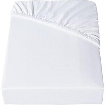 ENTSPANNO Jersey Spannbettlaken für Wasser- und Boxspringbett in Weiss Weiß aus gekämmter Baumwolle. Spannbetttuch mit Einlaufschutz 90 x 190   100 x 200-220 cm bis 40 cm hohe Matratzen