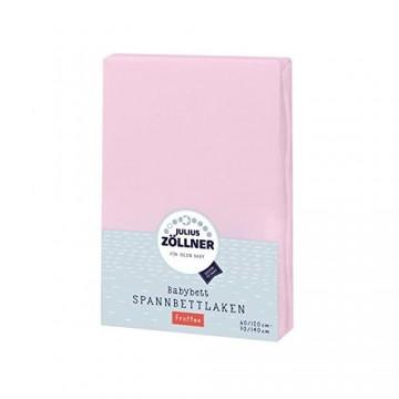 Julius Zöllner 8300113310 - Spannbetttuch Frottee für Kinderbett Größe: 60x120 cm / 70x140 cm Farbe: rosa
