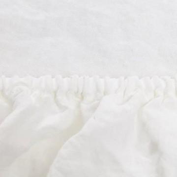"""URBANARA Spannbettlaken """"Mafalda"""" – 100% Leinen – von Natur aus antiallergen und atmungsaktiv – kühlt im Sommer und wärmt im Winter – 140cm x 200cm x 25cm (Weiß)"""