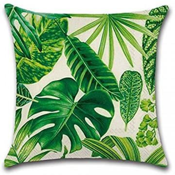 6 Stück Dekorative kissen Tropisch Blatt Kissenbezug Grüne Palmen Kissen-Hülle Leinen-Baumwoll Sofakissen Dekokissen Kopfkissen Hirsch 45x45cm