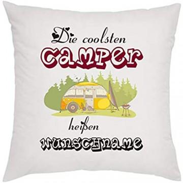 Crealuxe Die coolsten Camper heißen Wunschname Zierkissen Sofakissen bedrucktes Kissen Bauwollkissen