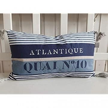 Kissen Dekokissen Landhaus Blau Atlantic Maritim mit Pompons 30x50 gefüllt