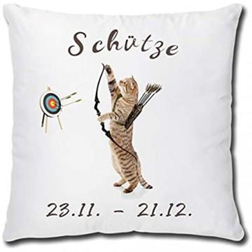 TRIOSK Kissen Katzenmotiv Sternzeichen Schütze Dekokissen lustig mit Katze Geschenk für Katzenliebhaber Frauen Mädchen Kinder Zierkissen Füllung 40x40 Weiß Bunt