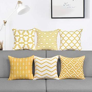 Alishomtll 6er Set Kissenbezug Outdoor Kissenhülle Zierkissenbezug Deko für Couch Sofa Polyester 45 x 45 cm Gelb