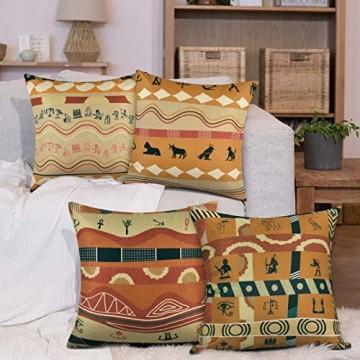 Bateruni 4er Set Kissenbezug Baumwolle Leinen Alte Ägyptisch Retro-Stil Zierkissenbezüge Afrika Dekorative Kissenbezüge für Sofa Couch Wohnzimmer 45x45cm