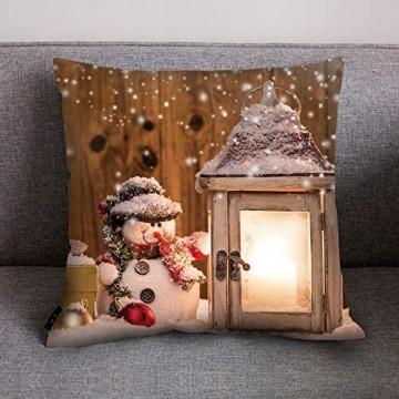 Fhuuly Kissenhülle Zierkissenbezüge 45x 45cm Sofa Auto Bett Dekoratives Kissenbezug Weihnachten Stil Taille Kissen Abdeckung Kissenüberzug(E)
