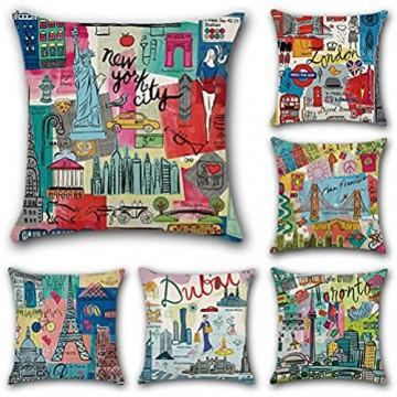 JOTOM Kissenbezug aus Baumwollleinen quadratisch dekorativ für Büro Sofa Bett 6 Stück 45 x 45 cm (Cartoon-Stadt)