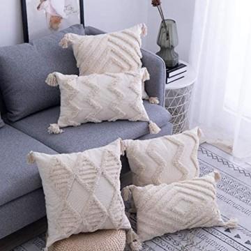 RAILONCH 1 STK Boho Kissenbezug Zierkissenbezüge Dekokissen Marokko getuftete Kissenbezüge für Sofa Schlafzimmer Wohnzimmer (A 45x45cm)