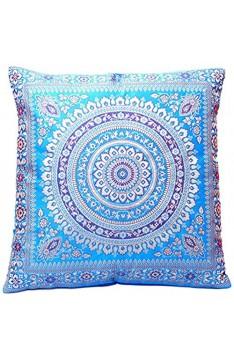 Ruwado Blau Seide Kissenbezug   Zierkissenbezug   Sofakissenbezug   Dekokissen   Zierkissen - 40 cm x 40 cm ***Handgewebt und Handgefertigt von Kunsthandwerkern aus Kaschmir-Indien***