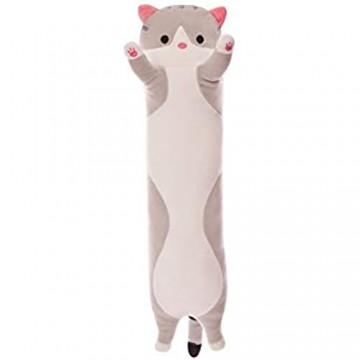 Chutoral Kuschelige Katze Plüsch Plüsch-Katzenpuppe gefülltes Kätzchenspielzeug langes Katzen-Schlafkissen Geschenk für Kinder Freundin (150 cm)