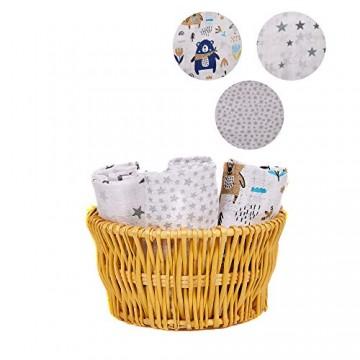 Baby-Musselin hergestellt in der EU 80 x 70 cm Babydecke Baumwolle Oeko-Tex Bettwäsche für Neugeborene Kinderwagen-Decke Steppdecke für Babys Babys (6. Variante)