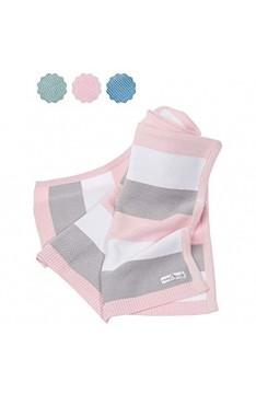 Babydecke aus 100% Bio Baumwolle - kuschelige Strickdecke ideal als Baby Decke Erstlingsdecke Wolldecke oder Baby Kuscheldecke in rosa/grau/weiß für Mädchen