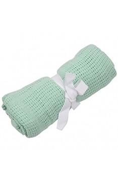 Huante Babydecke 100 % Baumwolle weich für Kinderwagen Babybett Mosseskorb Kinderbett Farbe: Obstgrün