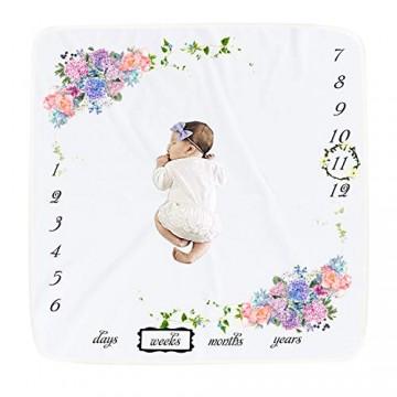 JMITHA Baby Milestone Decke Baby Monatliche Decke Fotohintergrund-Decke aus Flanell für Babyfotos mit Meilenstein-Druckmuster Baby Swaddling Decke für Fotografie 100 x 100cm (02)