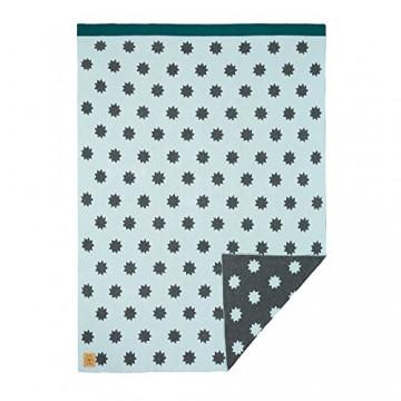 LÄSSIG Baby Kinderdecke Strickdecke weich Bio-Baumwolle GOTS zertifiziert/Baby Blanket Little Chums Stars mint