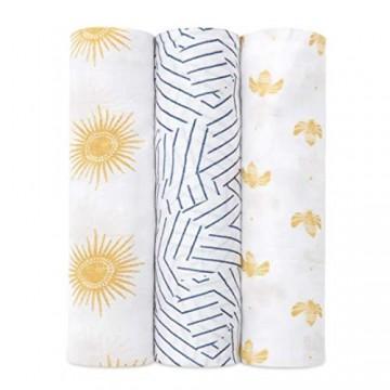 aden + anais™ große Silky Soft Pucktücher golden Sun in 3er-Packung