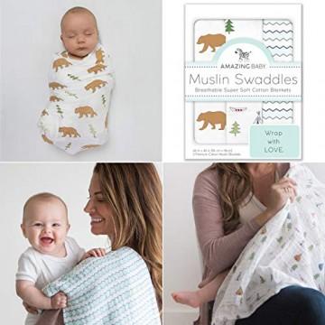 Amazing Baby von SwaddleDesigns Tolles Set mit 3 Pucktüchern aus Baumwoll-Musselin Outdoor Abenteuer Neutral 116 x 116 cm