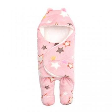 Baby Pucksack Winter Morbuy Neugeborene Swaddle Schlafsack mit Beinen Kapuze Kinderwagen Wrap Mädchen Junge 0-6 Monate (S(0-3 mounth) Rosa Sterne)