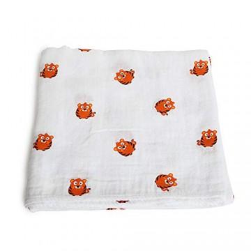 Baby Pucktücher Musselin Baby Gaze Wrapper Baby Doppelschicht Wickeltuch Decke Kinder Tier Badetuch-Kleiner Tiger_120 * 120