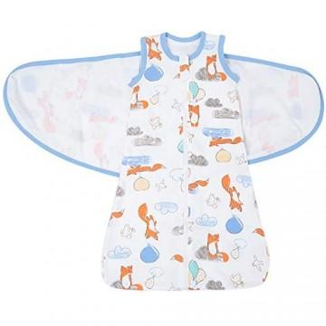 Babyschlafsack Baumwolle Pucktuch Wickeln Decke 0-6 Monate Atmungsaktiv Soft Schlafsack für Frühling/Sommer/Herbst für Neugeborene Jungen Mädchen