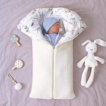 Kleinkind Wickeldecke Plüsch Wrap Schlafsäcke mit Reißverschluss Mehrzweck Gestrickte Kapuze Swaddle Schlafsack für 0-12 Monate Baby